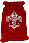 Silver Fleur de lis Rhinestone Knit Pet Sweater XL Red